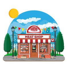 vintage butcher shop store facade with storefront vector image