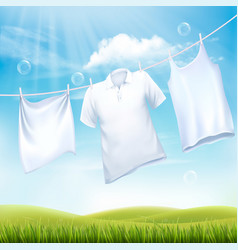 washing white clothes hanging on the rope design vector image