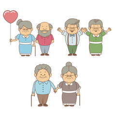 white background with set people of grandma and vector image