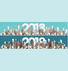 winter urban landscape city with snow christmas vector image