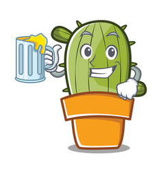 with juice cute cactus character cartoon vector image