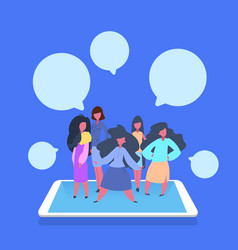 Woman team chat bubble application communication vector