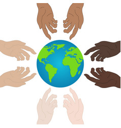 World peace day ecology concept holding hands vector