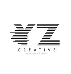yz y z zebra letter logo design with black and vector image