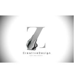 Z letter design brush paint stroke black z letter vector