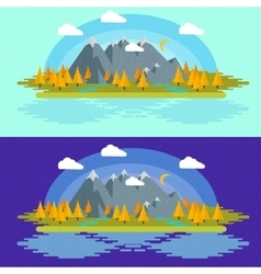Flat design nature landscape with vector image vector image