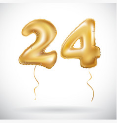 golden 24 number twenty four metallic balloon vector image