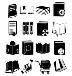 Library books icons set vector image vector image