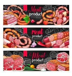 meat and sausage menu blackboard banner set vector image vector image