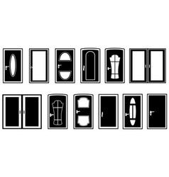 set doors black silhouette vector image vector image