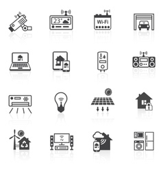 Smart home icons black vector image vector image