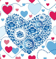 Wedding romantic seamless pattern with hearts vector image