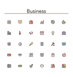 Business Colored Line Icons vector image