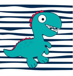 Cartoon dinosaur on striped backround vector