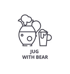 Jug with bear line icon outline sign linear vector