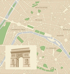 Map of the city of Paris and Triumphal arch vector image vector image