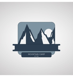 Mountain Camping wilderness adventure badge vector image