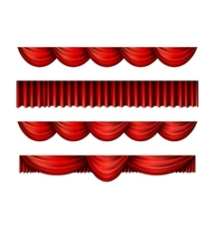 Pelmet red curtains set vector image