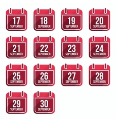 September flat calendar icons Days Of Year Set 24 vector image vector image