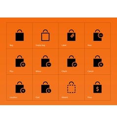 Shopping bag icons on orange background vector image vector image