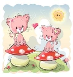 Two cartoon kittens vector image
