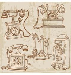vintage telephones set vector image vector image