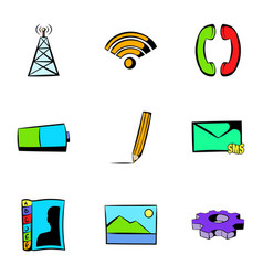 web technology icons set cartoon style vector image vector image
