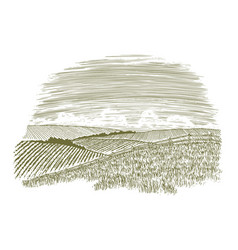 woodcut countryside fence row vector image vector image