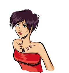Young girlin red sexy dress vector image