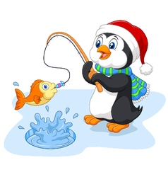 Cartoon funny penguin fishing vector image vector image