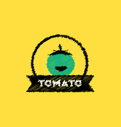 Flat icon design collection tomato emblem vector
