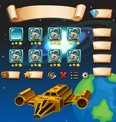 Game template with galaxy background vector image