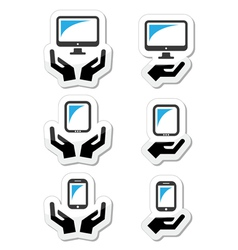 Hands with computer tablet mobile or cell phone vector image