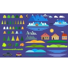 Landscape constructor icons set houses trees and vector image