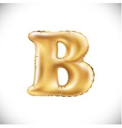 metallic gold b balloons golden letter new year vector image vector image