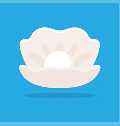Open seashell with pearl vector