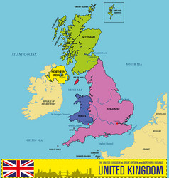 political map of united kingdom with regions vector image vector image