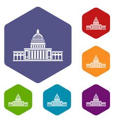 white house icons set hexagon vector image vector image