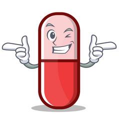 wink pill capsule cartoon character vector image