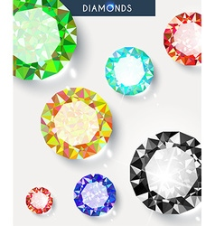 Background with a big shiny and colored diamonds vector image