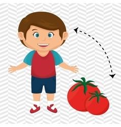 boy cartoon tomato vegetable health vector image