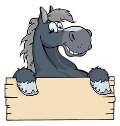 cartoon horse label vector image vector image