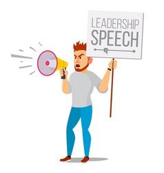 man shouting through loud speaker vector image