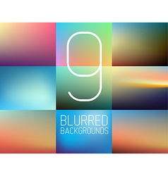 Set of 9 Abstract blurred background vector image vector image
