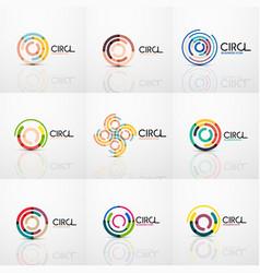 set of line circles logos vector image