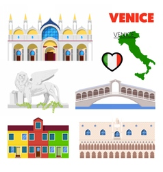 Venice Italy Travel Doodle with Architecture vector image vector image
