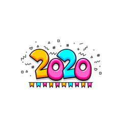 2020 cartoon new year number sketch doodle style vector