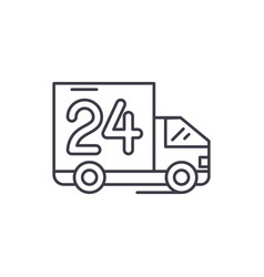 24 hours delivery line icon concept 24 hour vector image