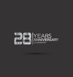 28 years anniversary logotype with silver color vector