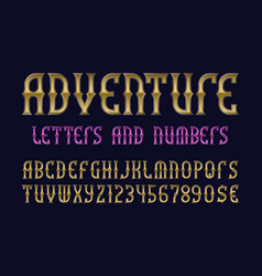 adventure letters and numbers with currency signs vector image